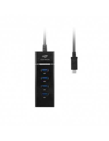 HUB USB C-USB 3.0 4 PORTAS HU-C300BK...